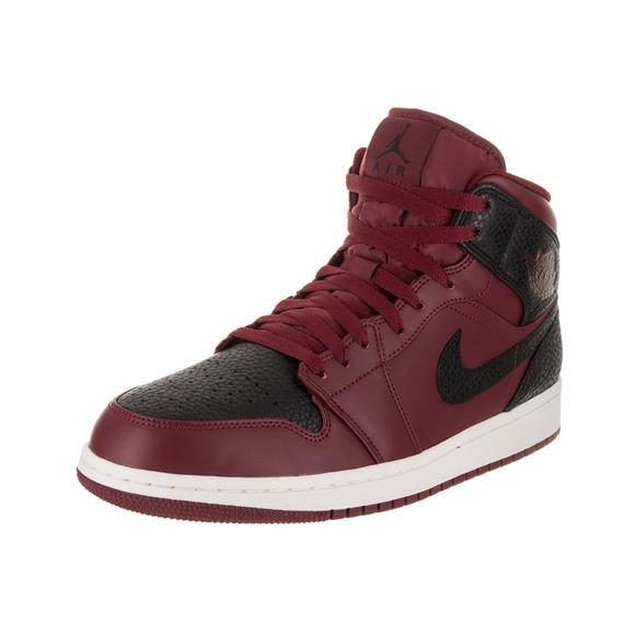 Nike Jordan Men's Air Jordan 1 Mid Team Red/Black Summit White Basketball Shoe 10 Men US